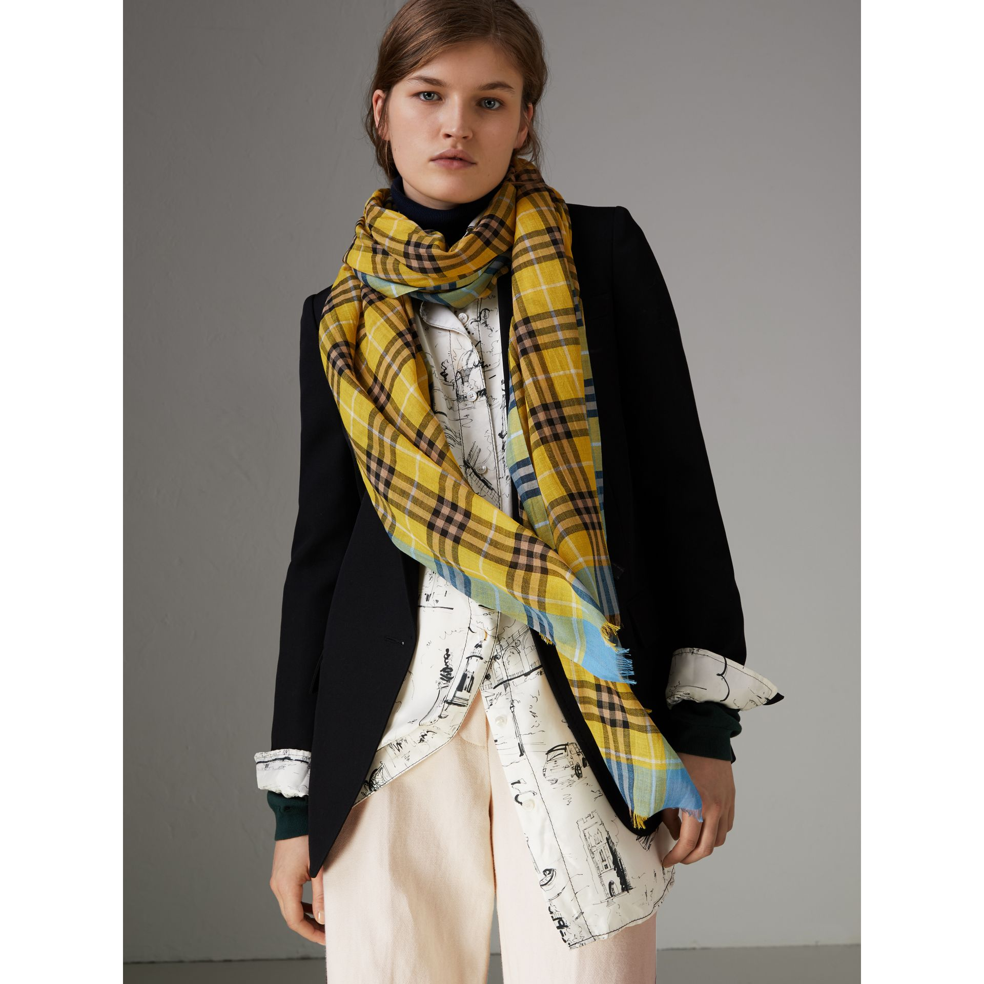 Check Wool Silk Scarf in Bright Yellow | Burberry United Kingdom - gallery image 4