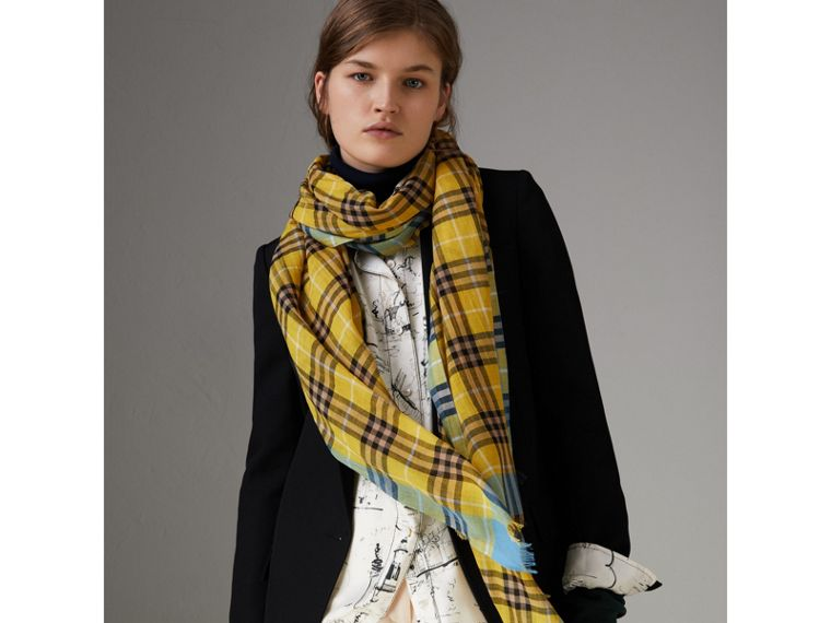 Check Wool Silk Scarf in Bright Yellow | Burberry - cell image 4