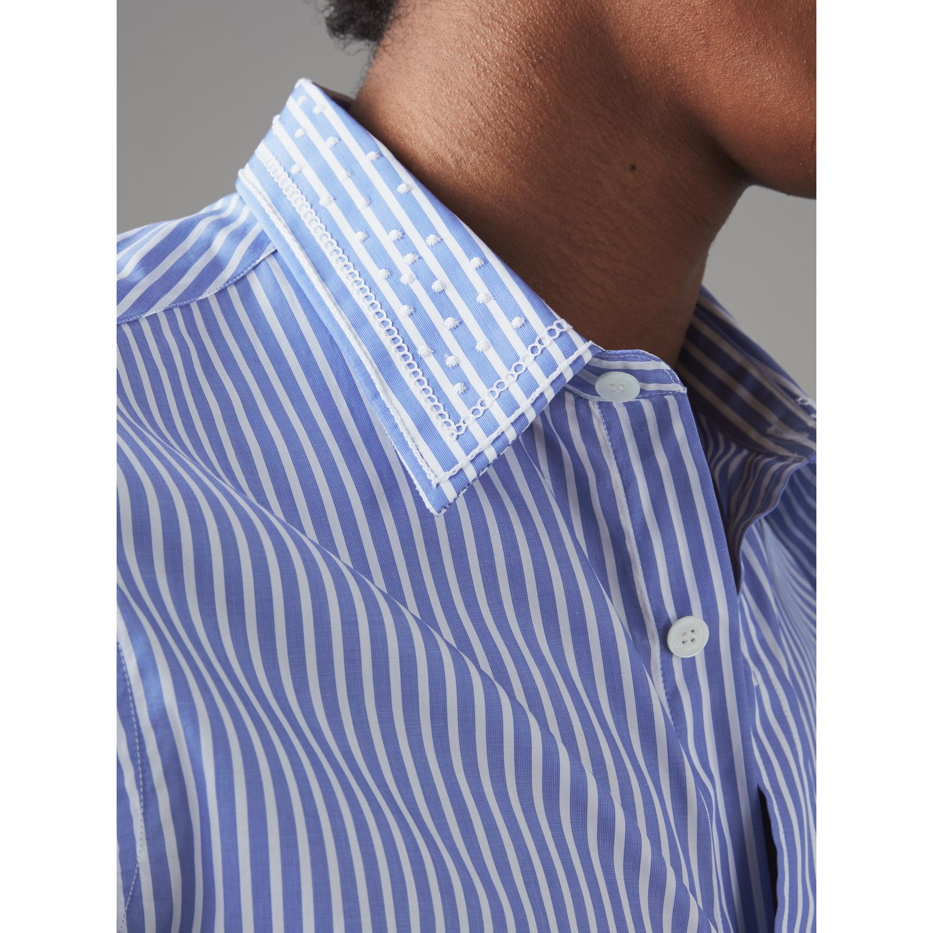Embroidered Collar Striped Cotton Shirt in Mid Blue - Men | Burberry - gallery image 1