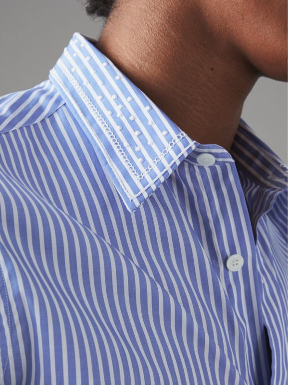 Embroidered Collar Striped Cotton Shirt in Mid Blue - Men | Burberry United States - cell image 1