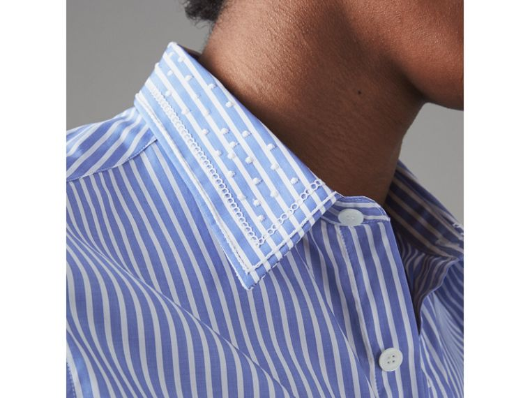 Embroidered Collar Striped Cotton Shirt in Mid Blue - Men | Burberry - cell image 1