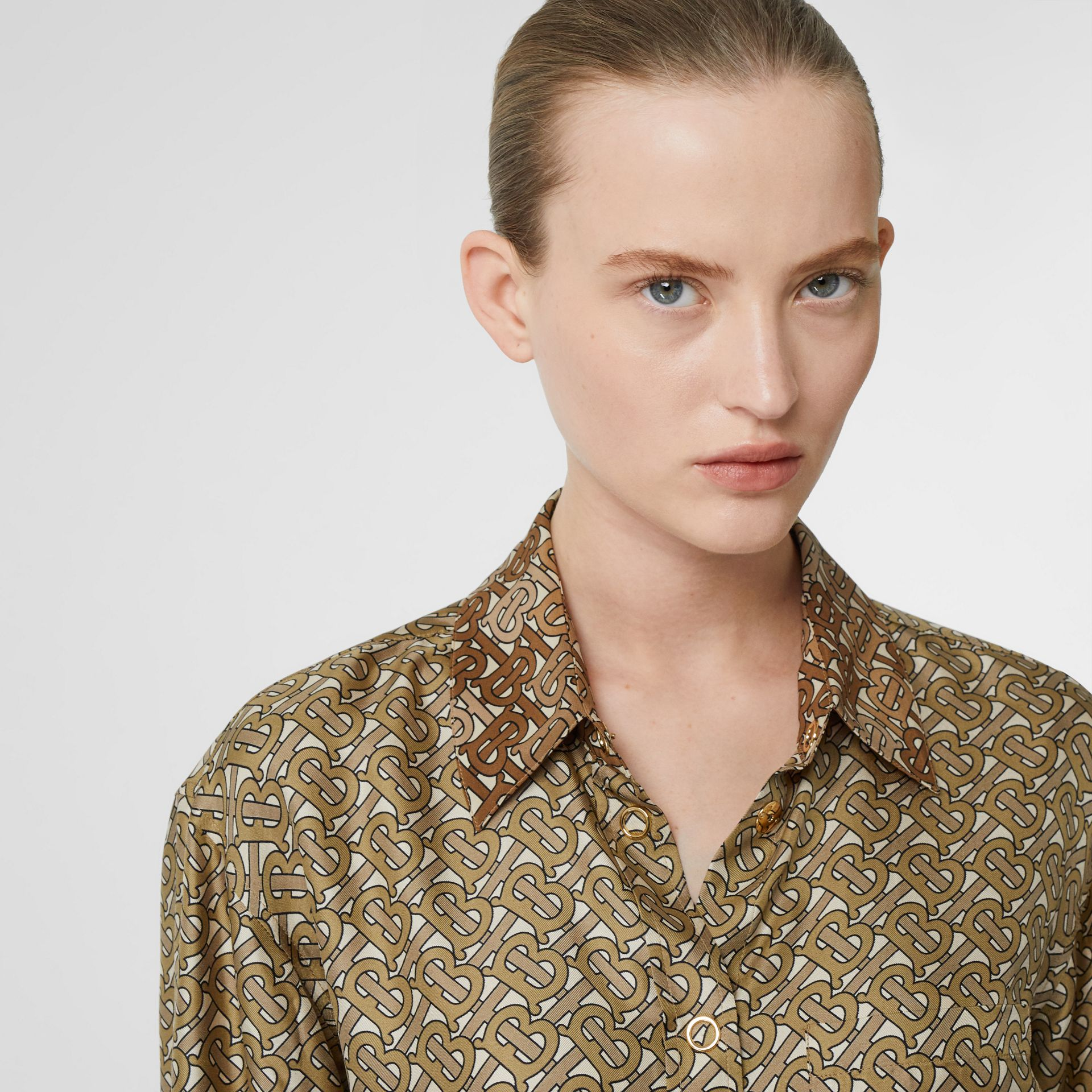Contrast Collar Monogram Print Silk Shirt in Military Olive - Women | Burberry - gallery image 1