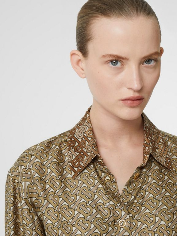 Contrast Collar Monogram Print Silk Shirt in Military Olive - Women | Burberry Singapore - cell image 1
