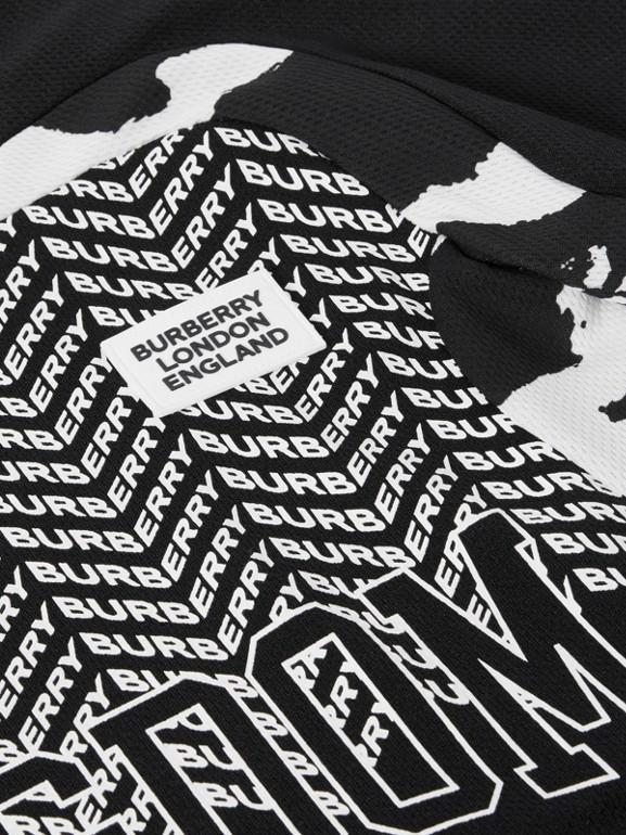 Kingdom Print Mesh T-shirt in Black | Burberry - cell image 1