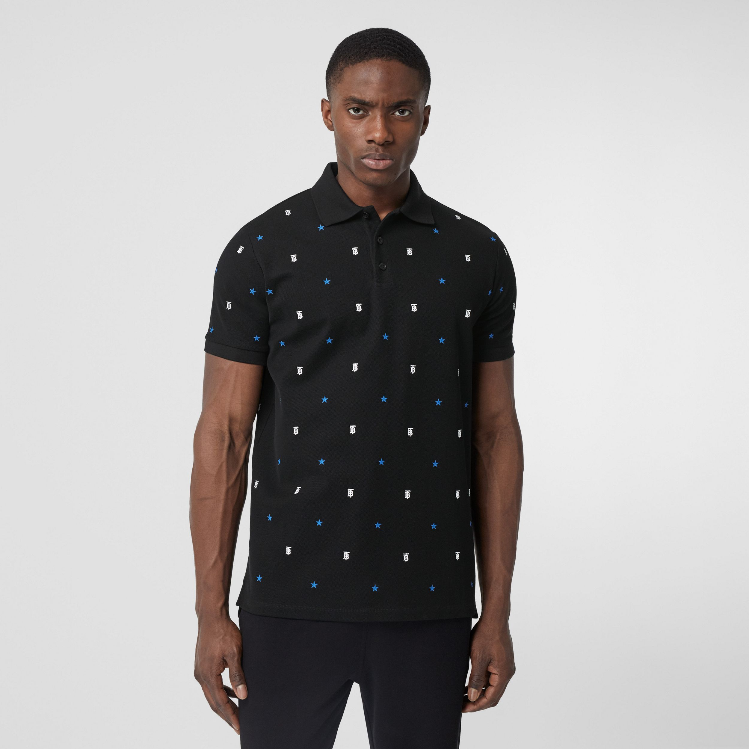 Star and Monogram Motif Cotton Piqué Polo Shirt in Black - Men | Burberry - 1