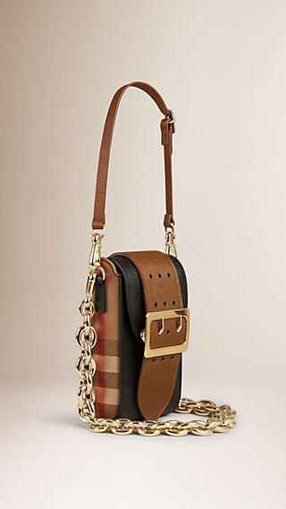 Sac The Belt oblong en cuir texturé, avec motif House check