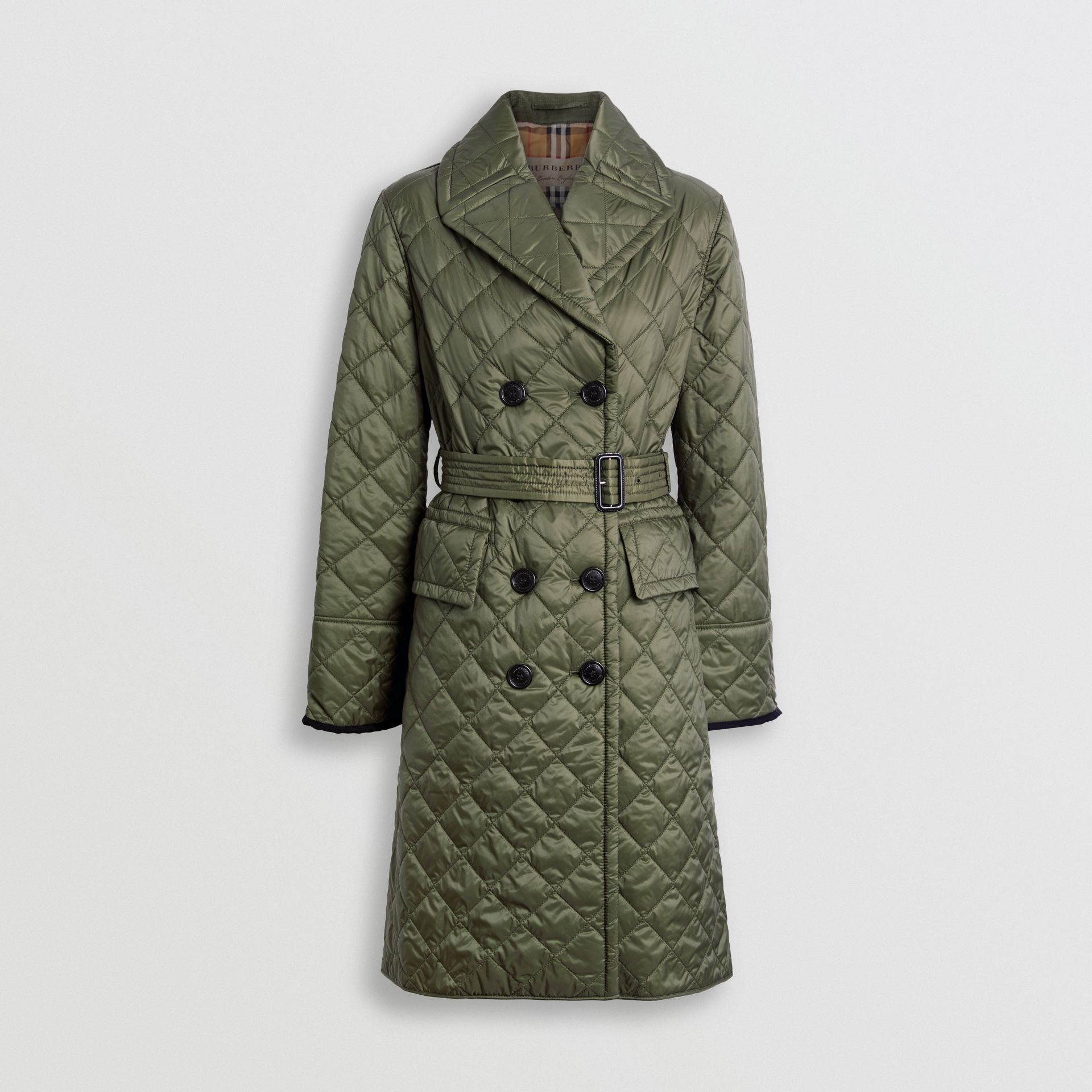 Lightweight Diamond Quilted Coat in Cadet Green - Women | Burberry - gallery image 3