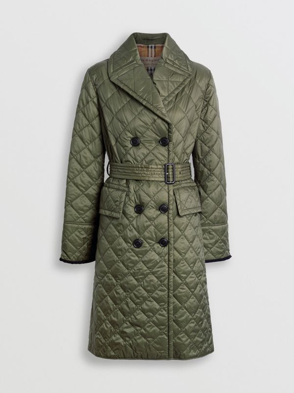 Lightweight Diamond Quilted Coat in Cadet Green - Women | Burberry - cell image 3