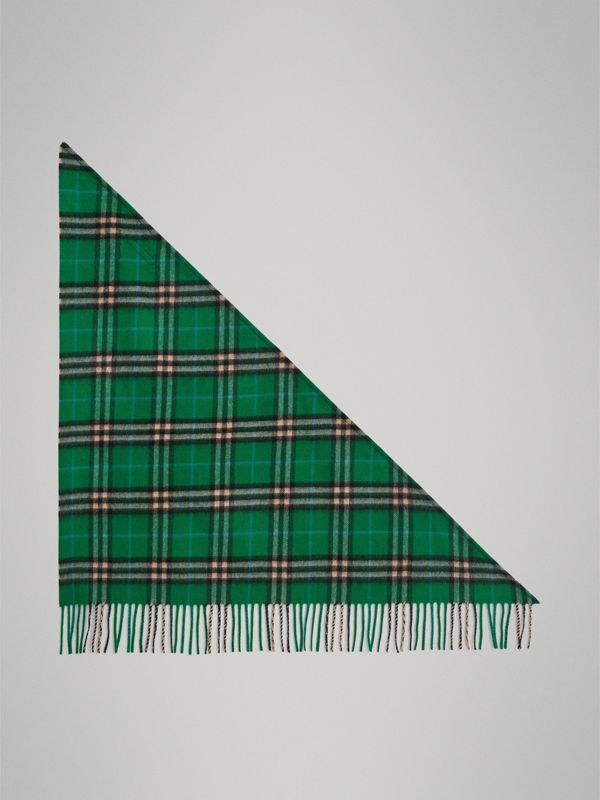 The Mini Burberry Bandana in Check Cashmere in Pine Green | Burberry Australia - cell image 2