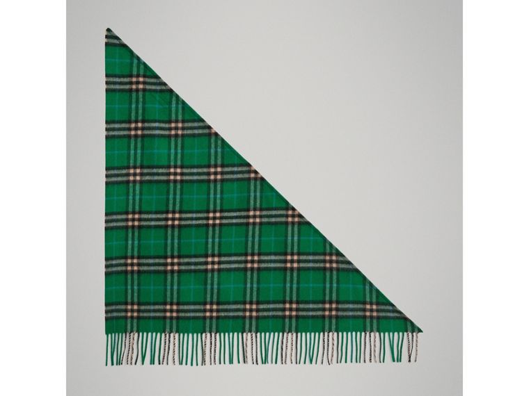The Burberry Bandana mini in cashmere con motivo tartan (Verde Pino) | Burberry - cell image 2