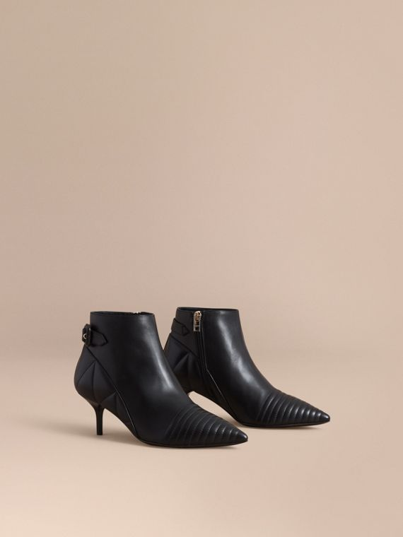 Quilted Leather Ankle Boots in Black