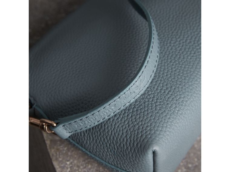 Embossed Leather Clutch Bag in Dusty Teal Blue - Women | Burberry - cell image 1