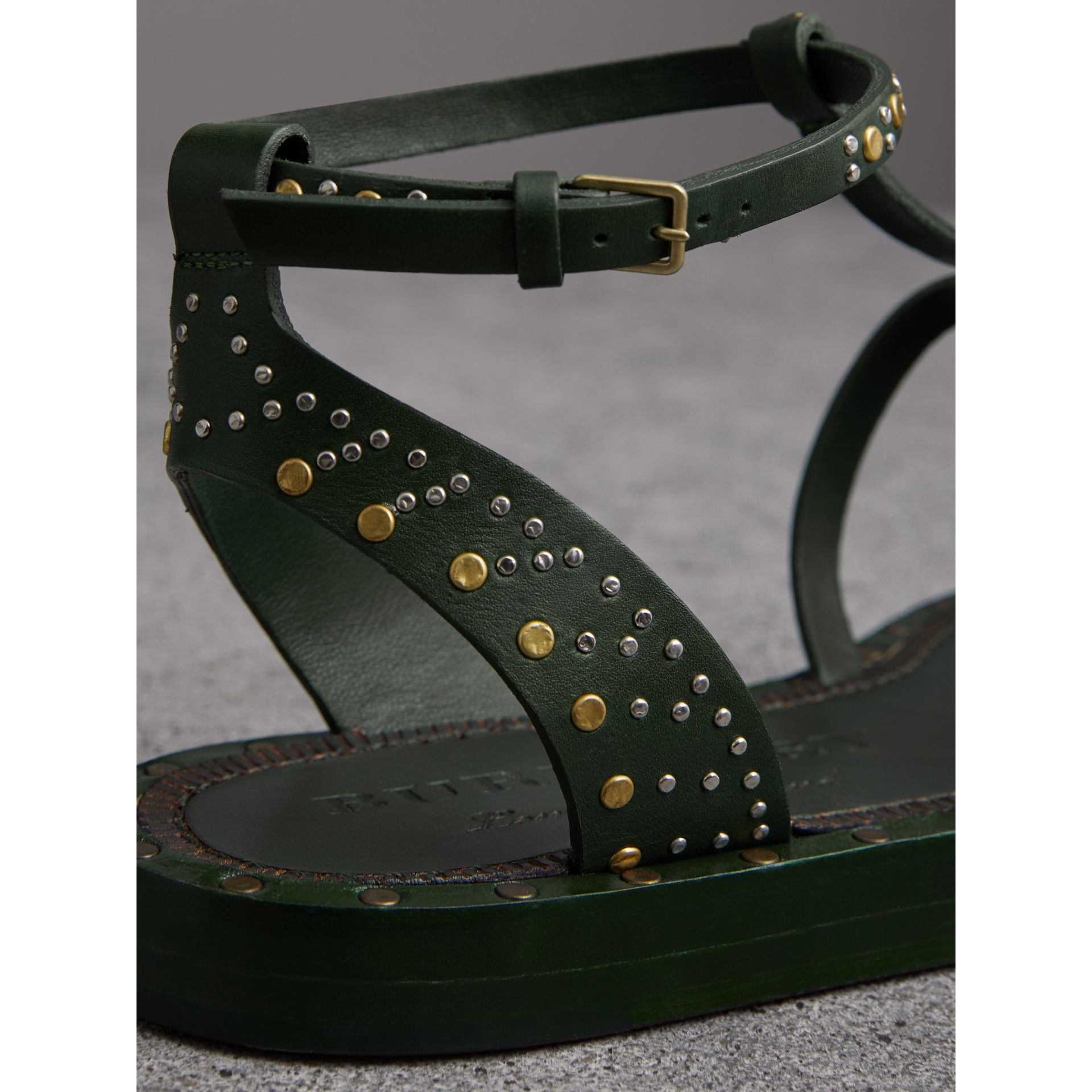 Riveted Leather Gladiator Sandals in Dark Green - Women | Burberry - gallery image 1