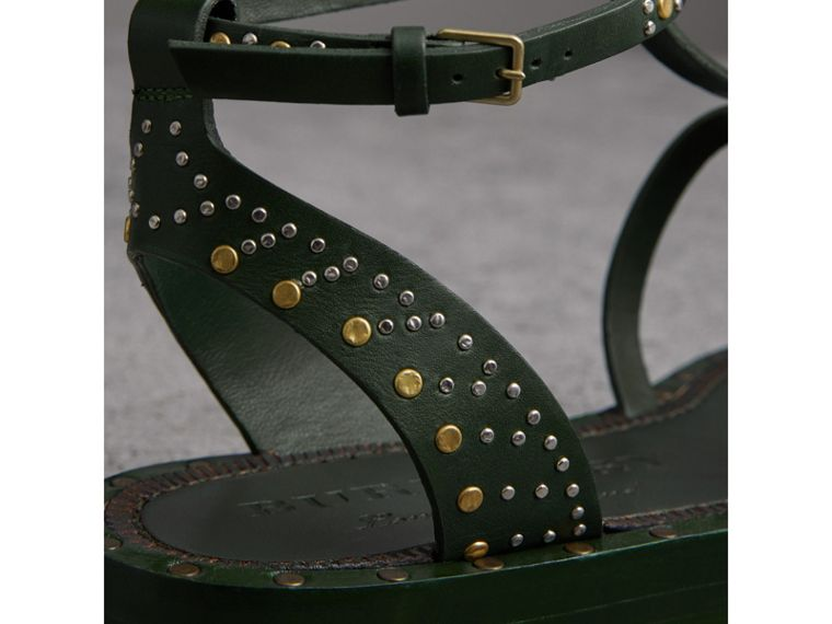 Riveted Leather Gladiator Sandals in Dark Green - Women | Burberry - cell image 1