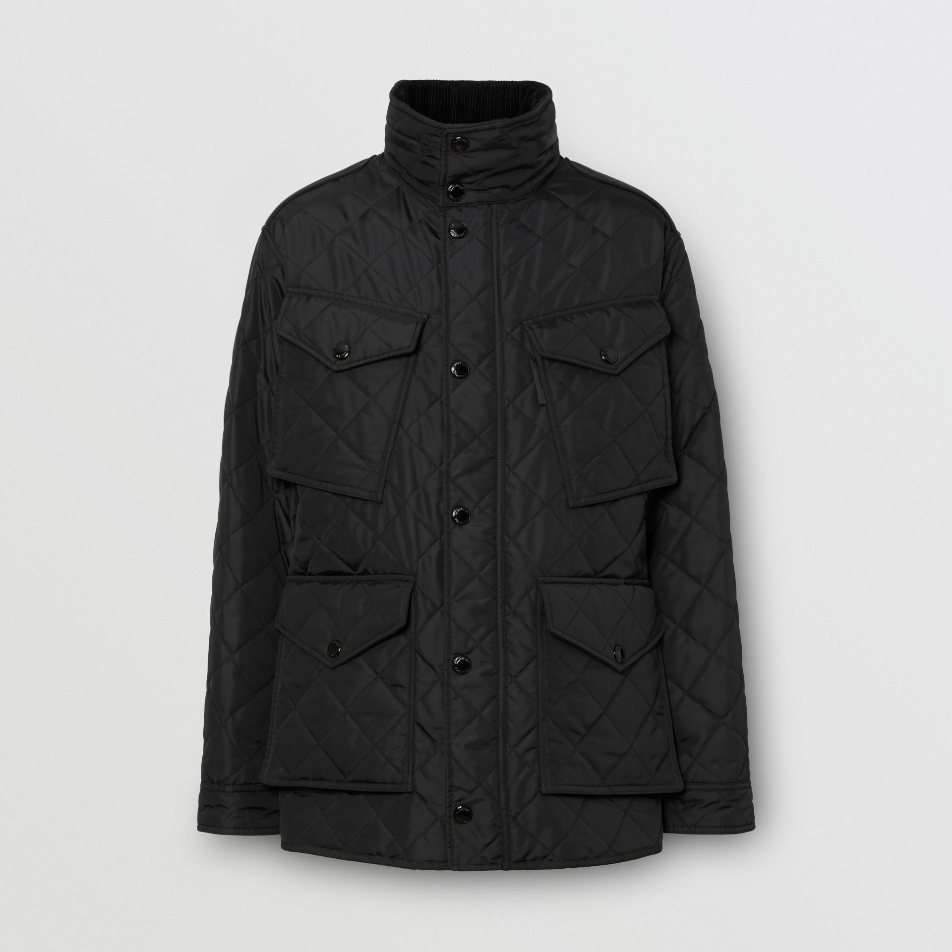 Jaqueta estilo militar termorregulada em matelassê com capuz embutido (Preto) - Homens | Burberry - galeria de imagens 3