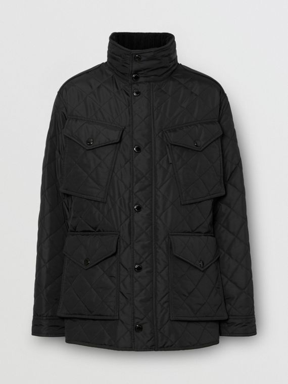 Packaway Hood Quilted Thermoregulated Field Jacket in Black