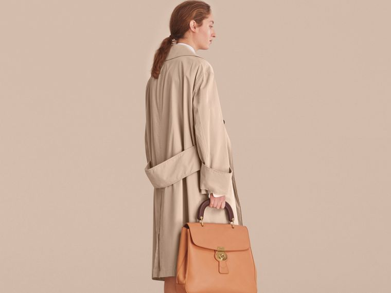 Unisex Tropical Gabardine Car Coat with Exaggerated Cuffs in Light Taupe - Women | Burberry - cell image 4