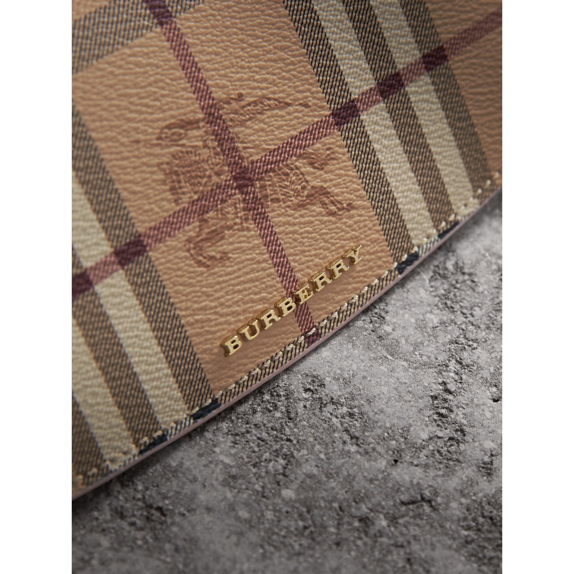 Haymarket Check and Leather Slim Continental Wallet in Light Elderberry - Women | Burberry - gallery image 1