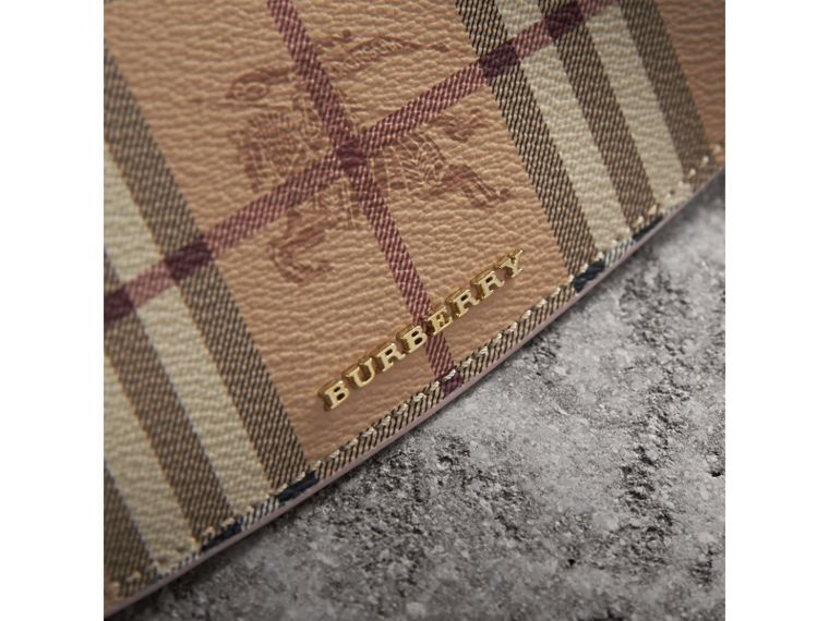 Haymarket Check and Leather Slim Continental Wallet in Light Elderberry - Women | Burberry Canada - cell image 1