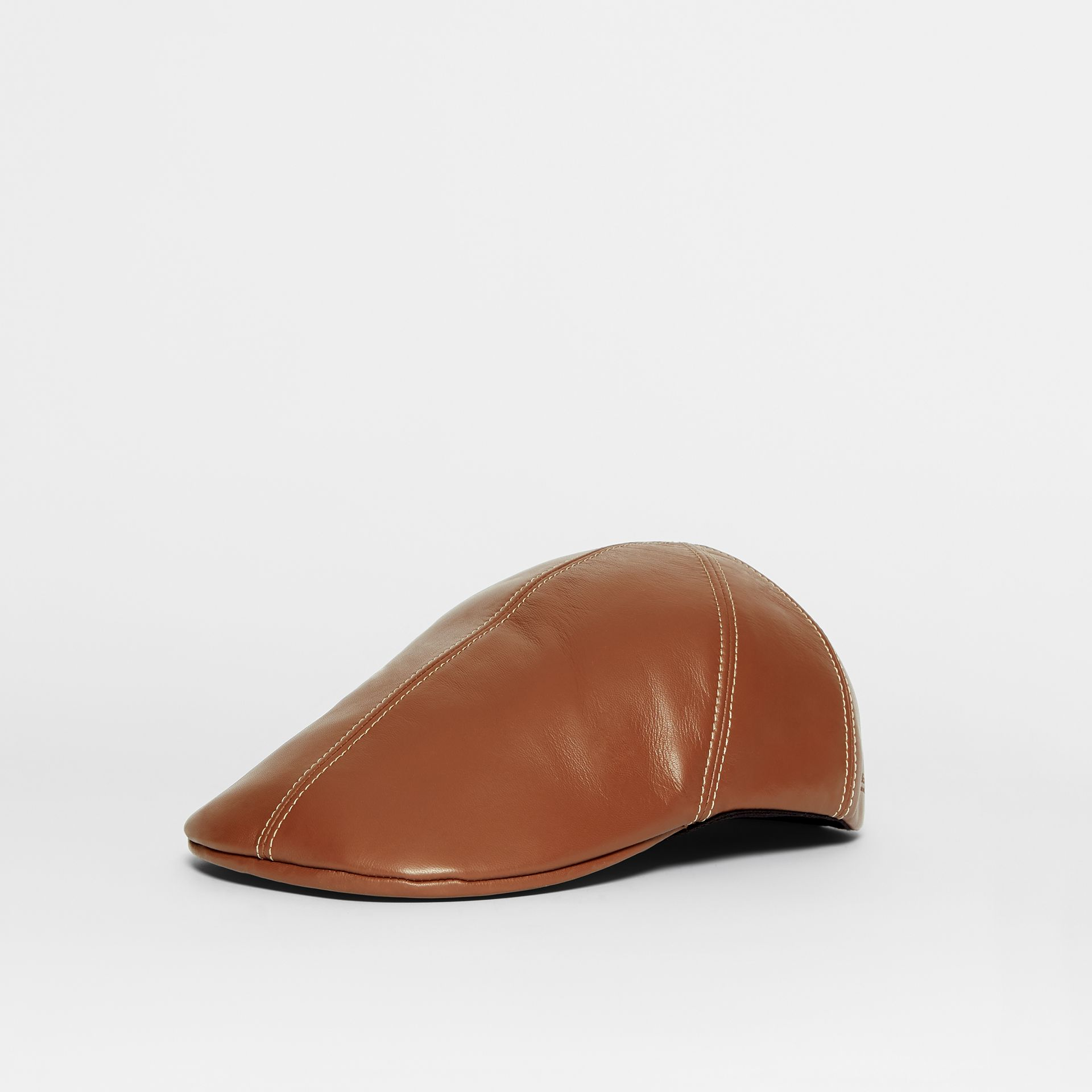 Lambskin Flat Cap in Tan | Burberry United Kingdom - gallery image 4