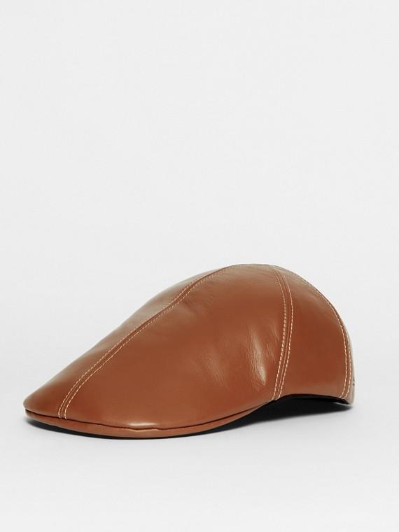 Lambskin Flat Cap in Tan