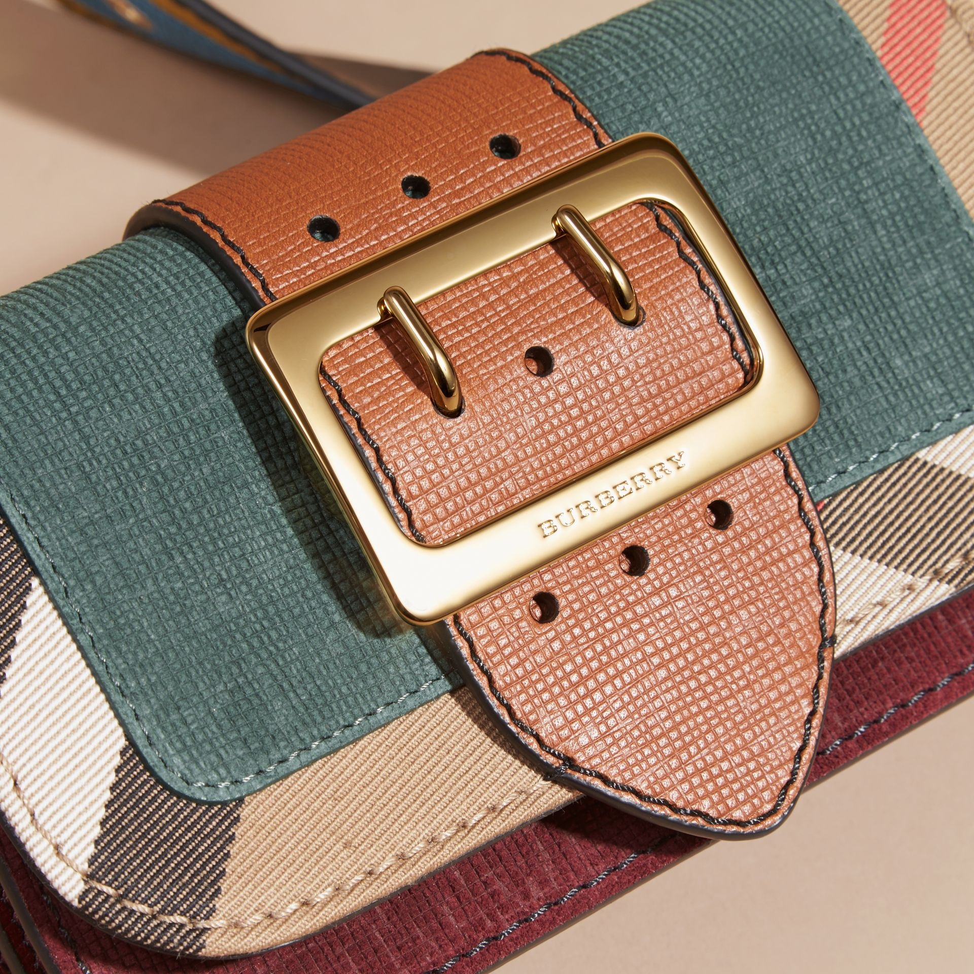 The Small Buckle Bag in Suede and House Check in Sea Green - gallery image 2