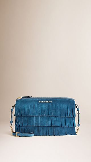 Suede Clutch Bag in Tiered Fringing Marine Blue