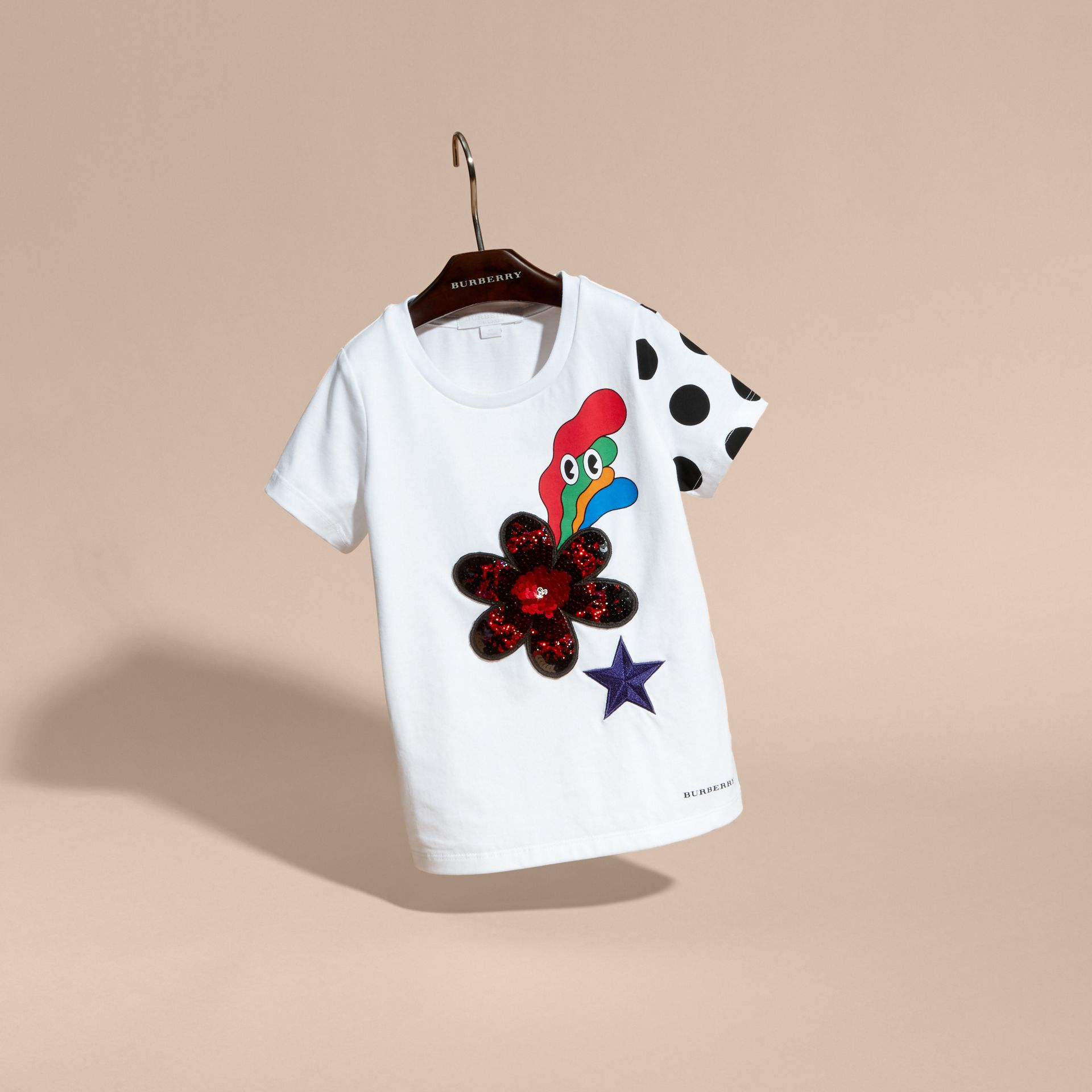 White Embroidered Flower Burst Graphic Cotton T-Shirt - gallery image 3