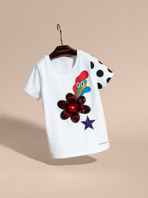 White Embroidered Flower Burst Graphic Cotton T-Shirt - cell image 2