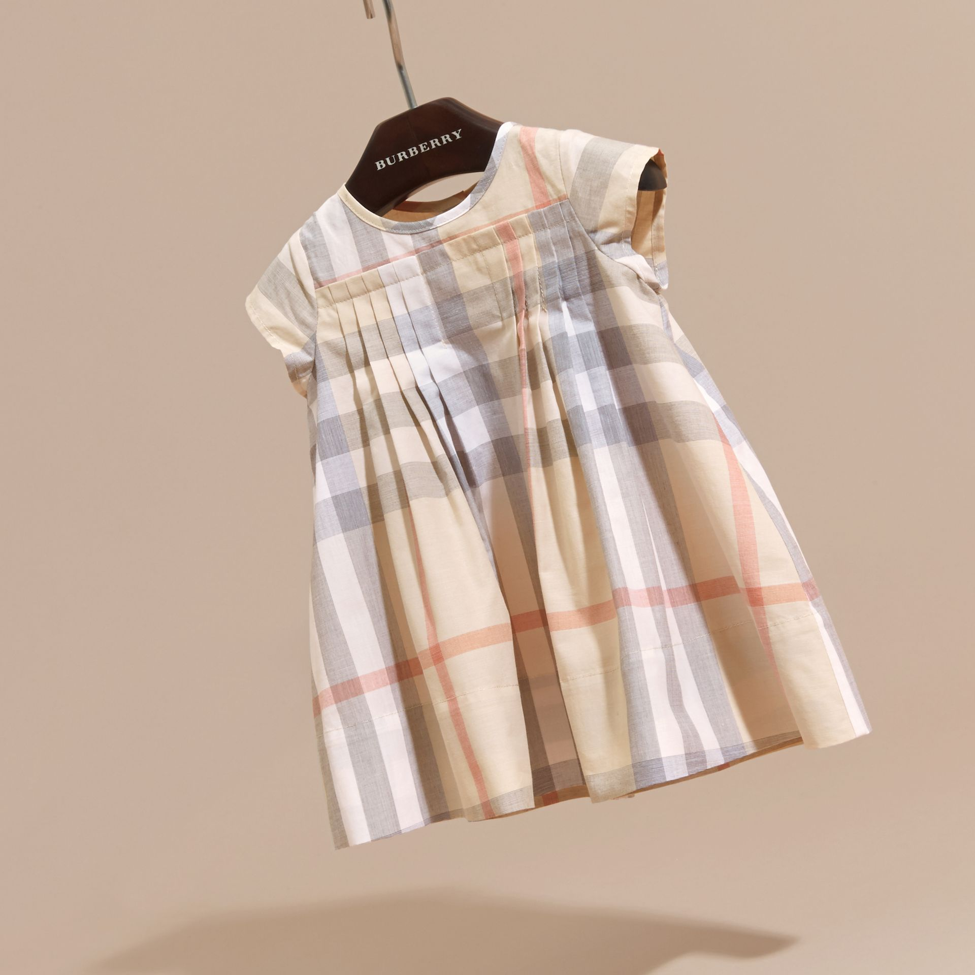 Check Cotton Pleat Dress in Pale Stone | Burberry - gallery image 3