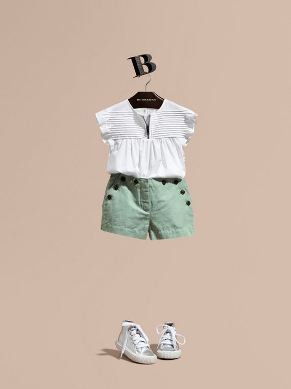 Button Detail Cotton Linen Shorts