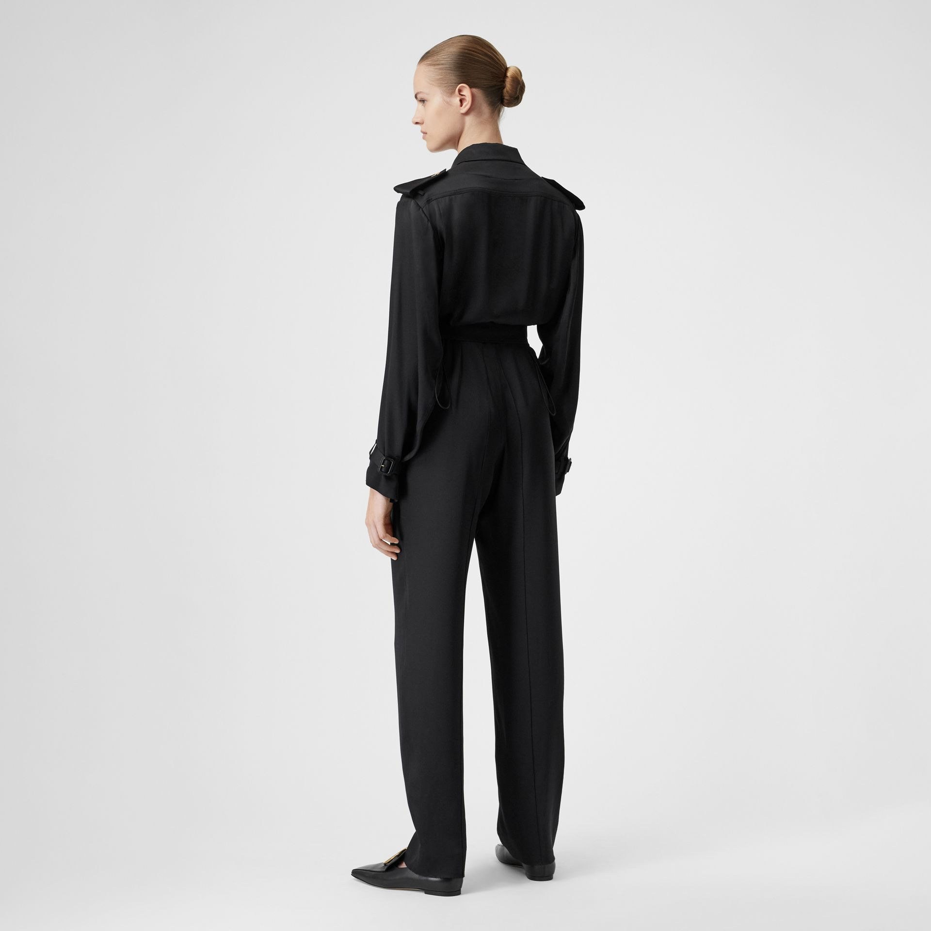 Silk Satin Jumpsuit in Black - Women | Burberry - gallery image 2