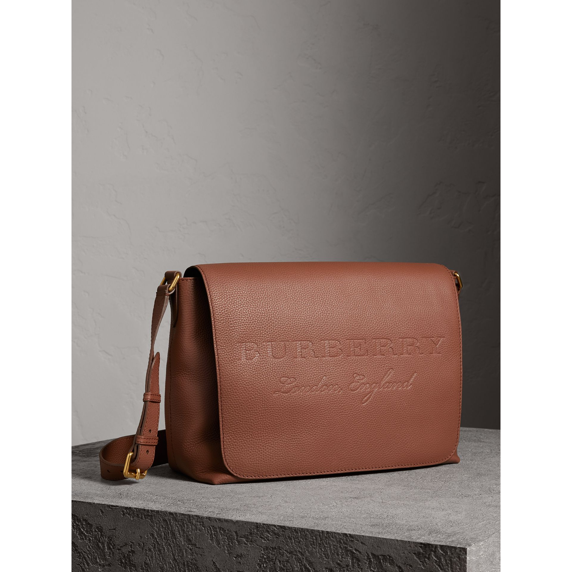 Large Embossed Leather Messenger Bag in Chestnut Brown | Burberry - gallery image 5