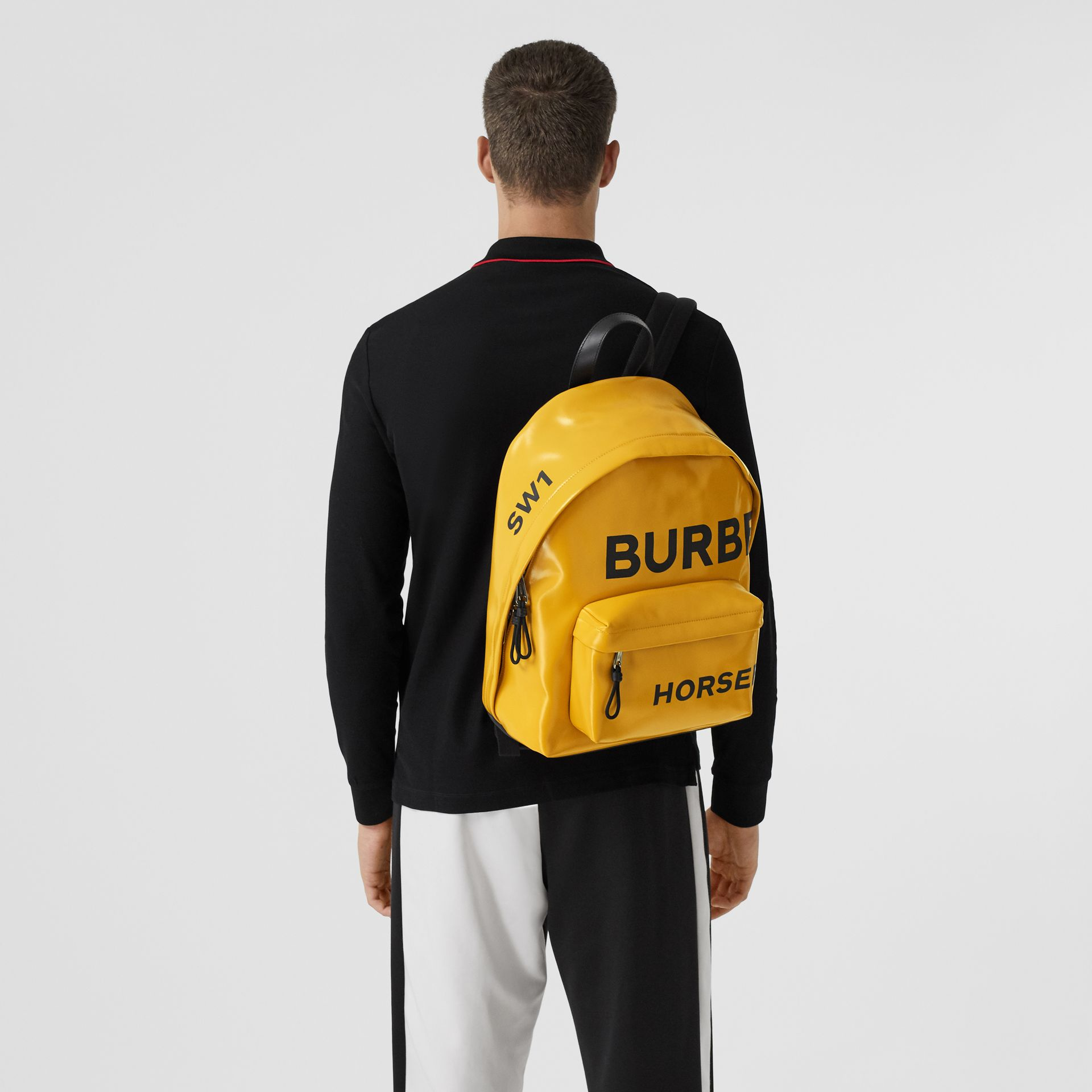 Horseferry Print Coated Canvas Backpack in Yellow | Burberry - gallery image 2