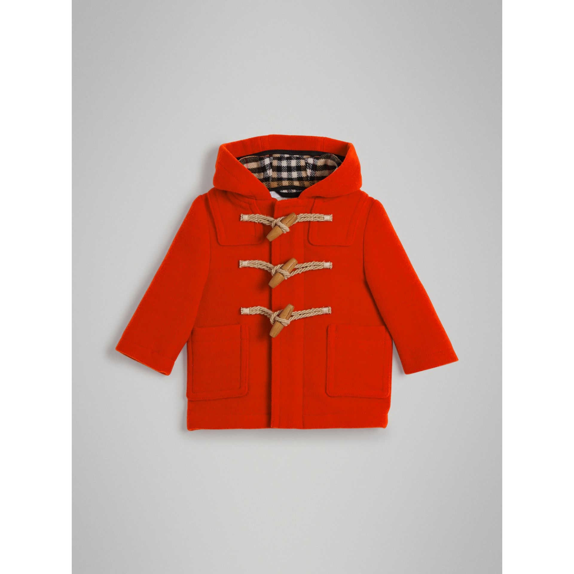 Boiled Wool Duffle Coat in Orange Red | Burberry - gallery image 0