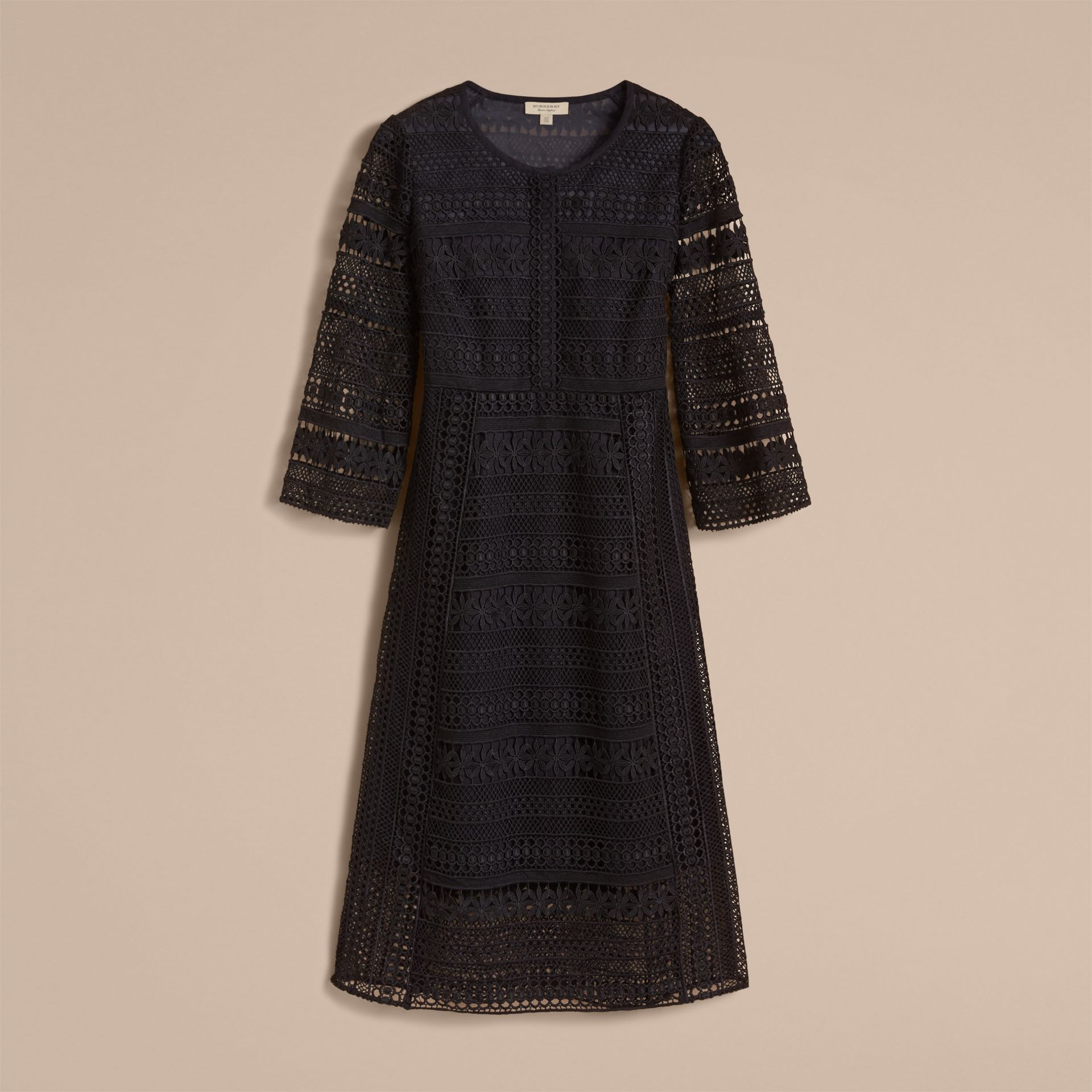 Puff-sleeve Macramé Lace Dress in Black - Women | Burberry - gallery image 4