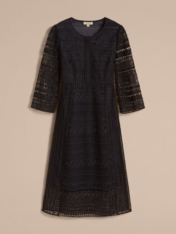 Puff-sleeve Macramé Lace Dress in Black - Women | Burberry - cell image 3