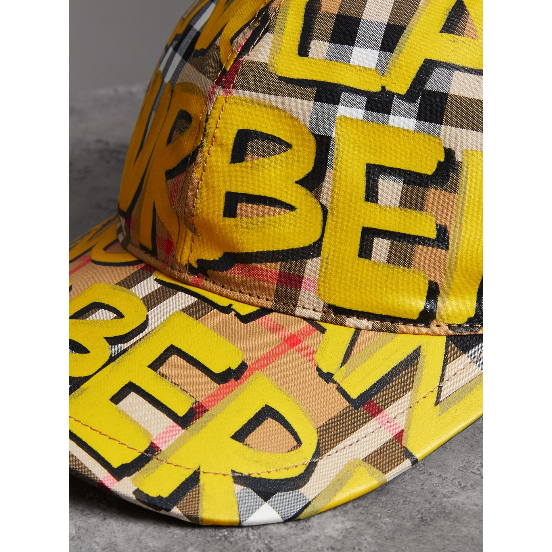 Graffiti Print Vintage Check Baseball Cap in Bright Yellow/antique Yellow | Burberry - gallery image 1