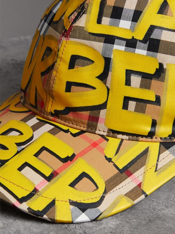 Graffiti Print Vintage Check Baseball Cap in Bright Yellow/antique Yellow | Burberry - cell image 1