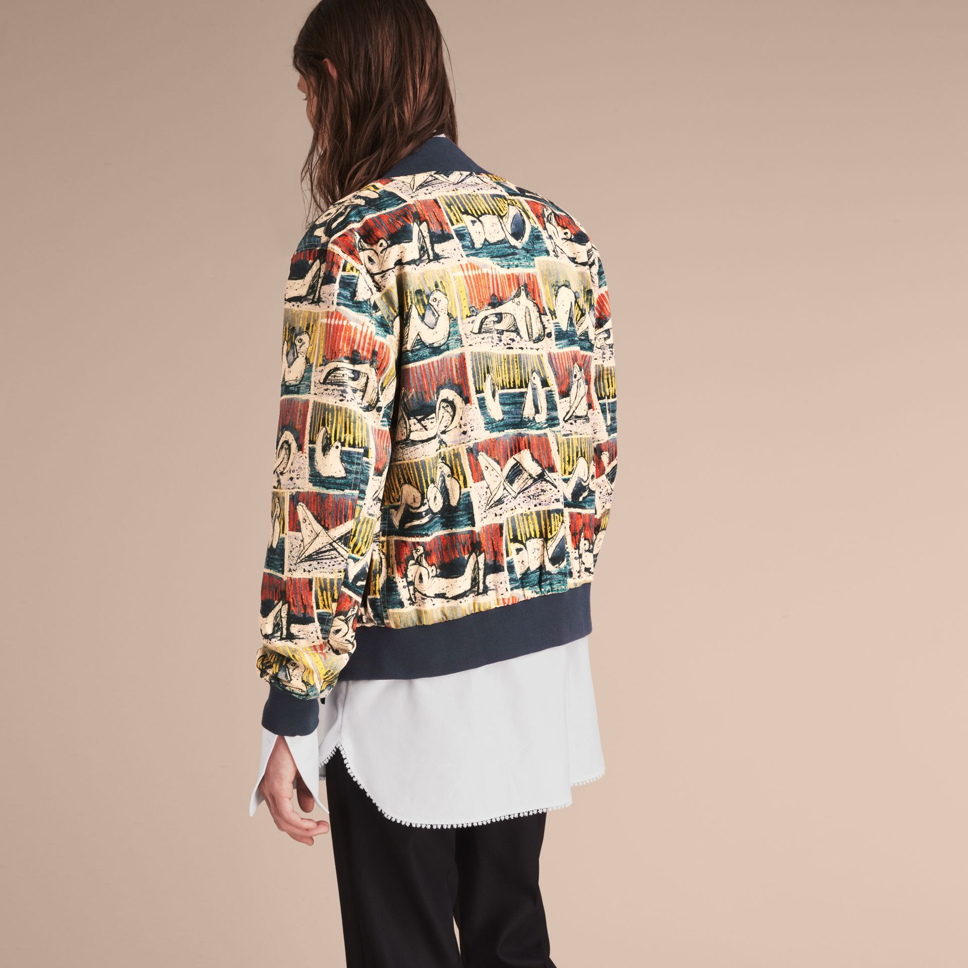 Reclining Figures Print Cotton Bomber Jacket in Stone Blue - Men | Burberry - gallery image 3