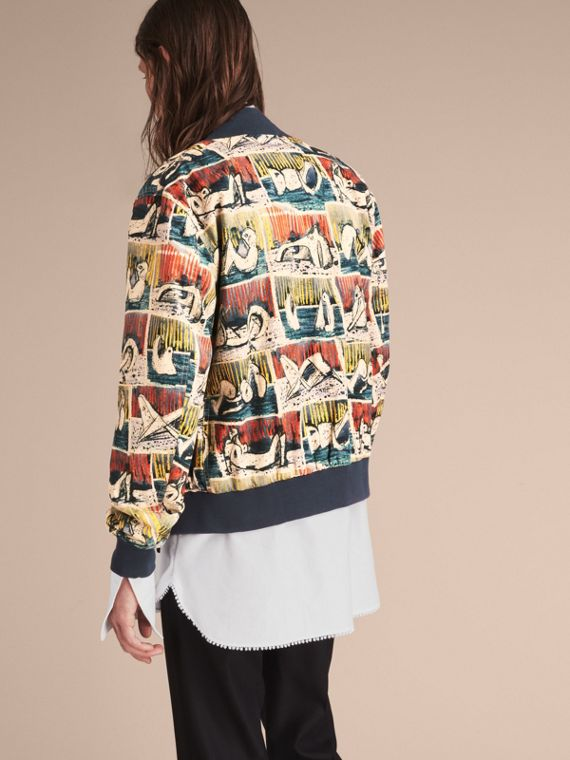 Reclining Figures Print Cotton Bomber Jacket in Stone Blue - Men | Burberry - cell image 2