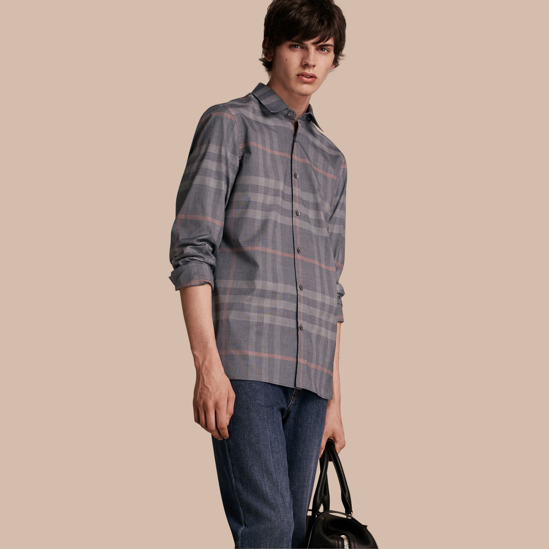 Check Cotton Oxford Shirt Dark Charcoal - gallery image 1
