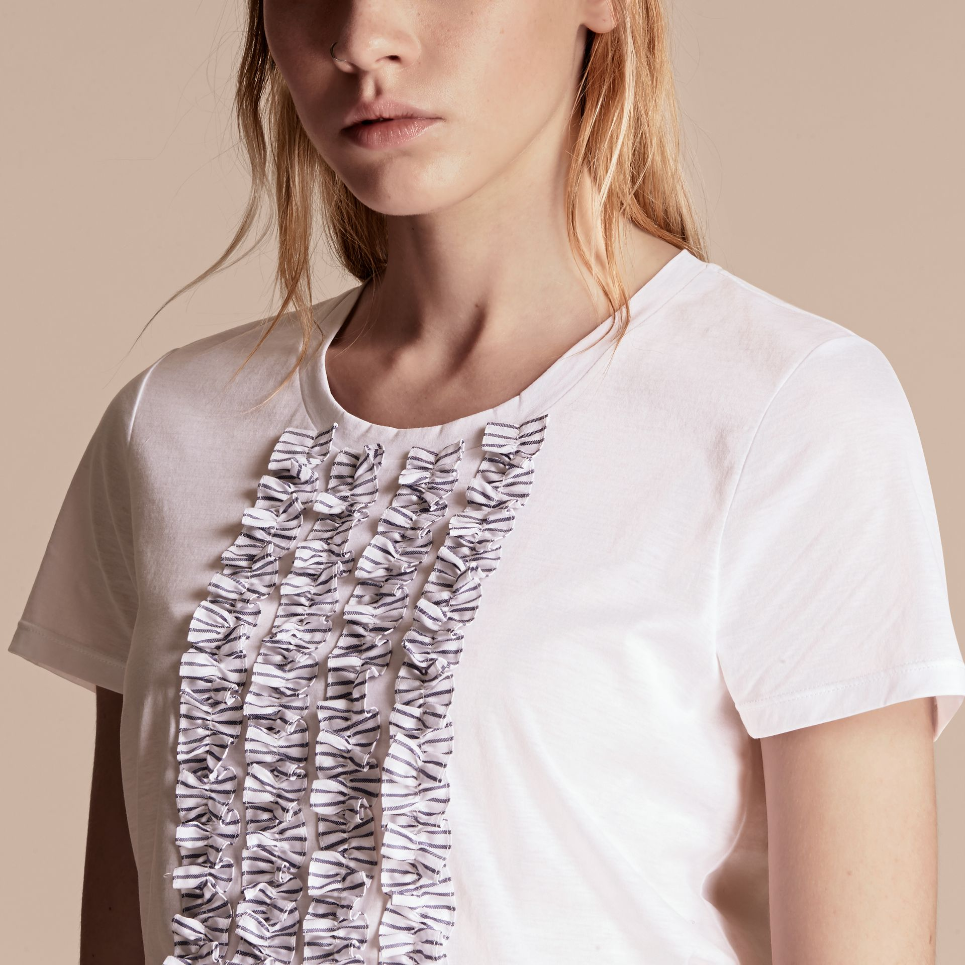 White Cotton T-Shirt with Ruffled Bib - gallery image 5