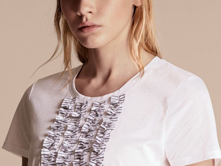 White Cotton T-Shirt with Ruffled Bib - cell image 4