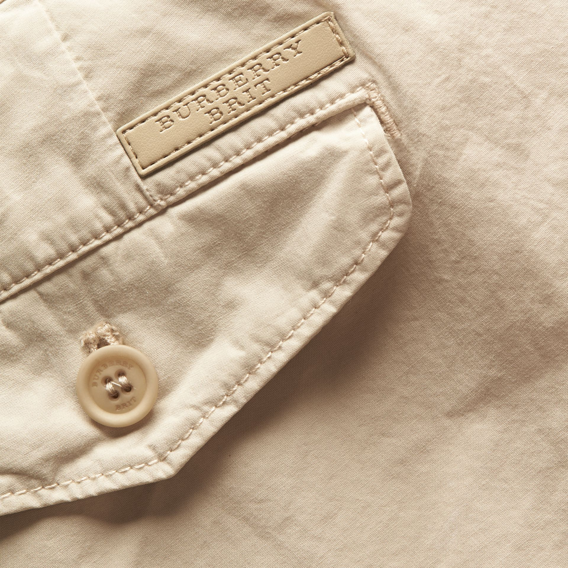 Slim Fit Cotton Poplin Chinos in Stone - Men | Burberry - gallery image 2
