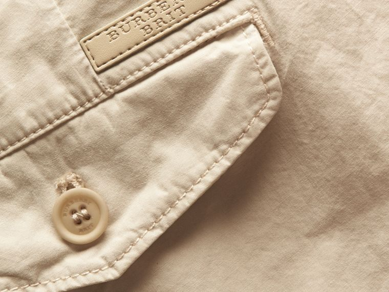 Slim Fit Cotton Poplin Chinos in Stone - Men | Burberry - cell image 1