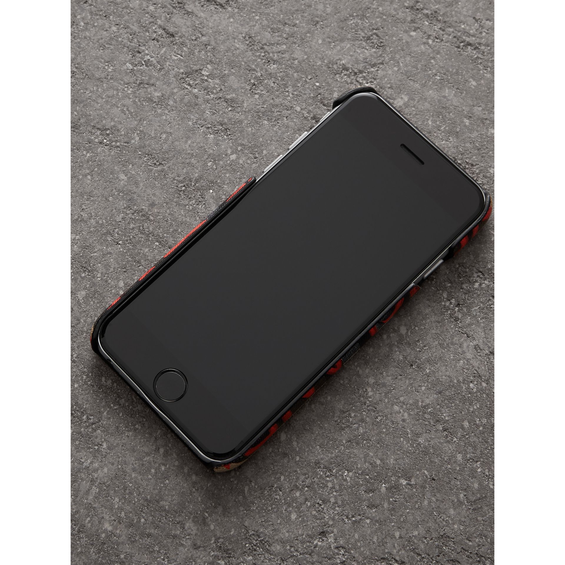 Graffiti Vintage Check Leather iPhone 8 Case in Red | Burberry Singapore - gallery image 2