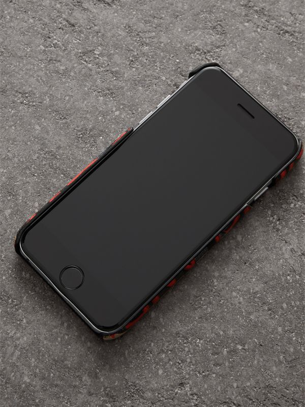 Graffiti Vintage Check Leather iPhone 8 Case in Red | Burberry - cell image 2