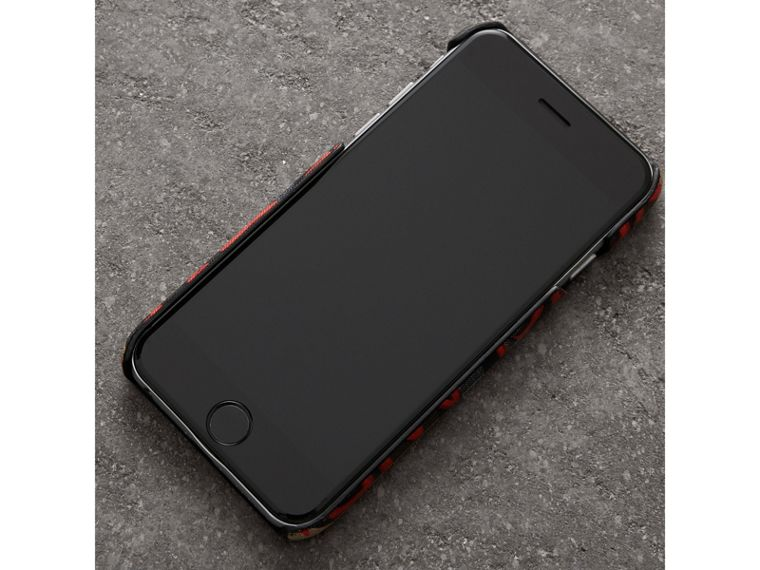 Graffiti Vintage Check Leather iPhone 8 Case in Red | Burberry Canada - cell image 2