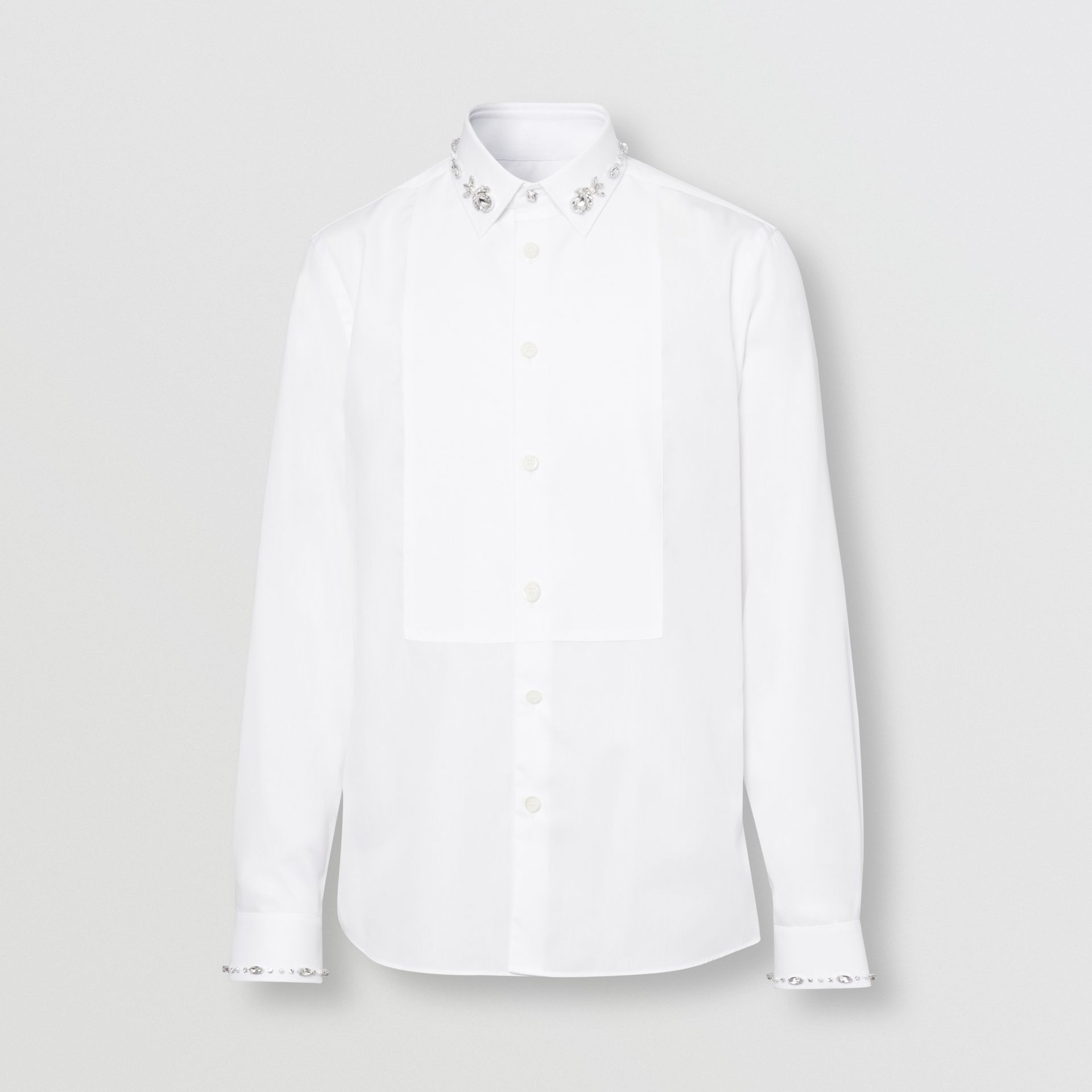 Slim Fit Embellished Cotton Poplin Shirt in White - Men | Burberry Hong Kong S.A.R - gallery image 3